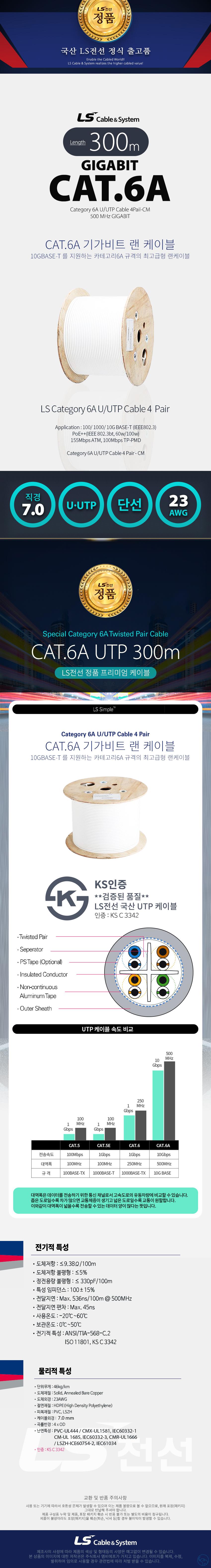 LS전선 CAT.6a UTP 랜케이블 (300m, 화이트)