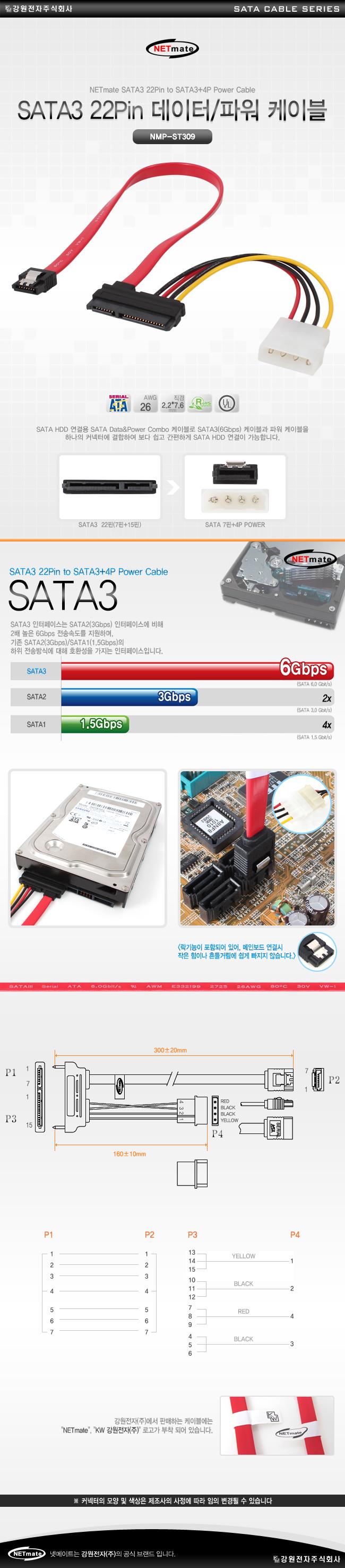 강원전자 NETmate SATA 6Gb/s 데이터/파워 Lock 케이블(0.3m, NMP-ST309)
