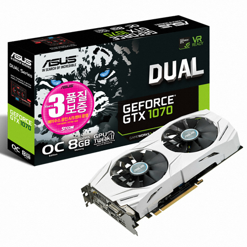 ASUS DUAL 지포스 GTX1070 O8G D5 8GB STCOM