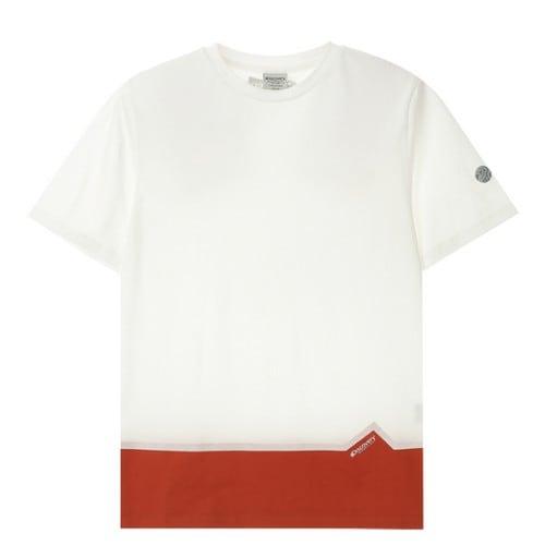 디스커버리익스페디션  밑단 블럭형 라운드 티셔츠 (DMRT52831-WH, 화이트)_이미지