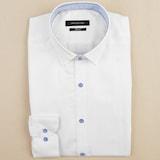 루이까또즈  화이트 솔리드 슬림핏 긴소매 셔츠 L43871_이미지