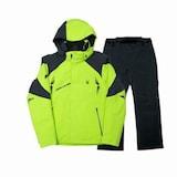 스파이더  가르미슈 남성 스키 자켓+보르미오 팬츠 세트 153035+153042 형광그린+블랙_이미지