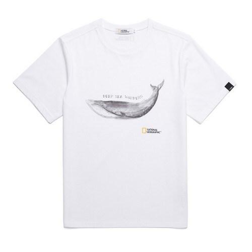내셔널 지오그래픽  아키누 고래 프린트 반팔 티셔츠 (N182UTS960, 화이트)_이미지
