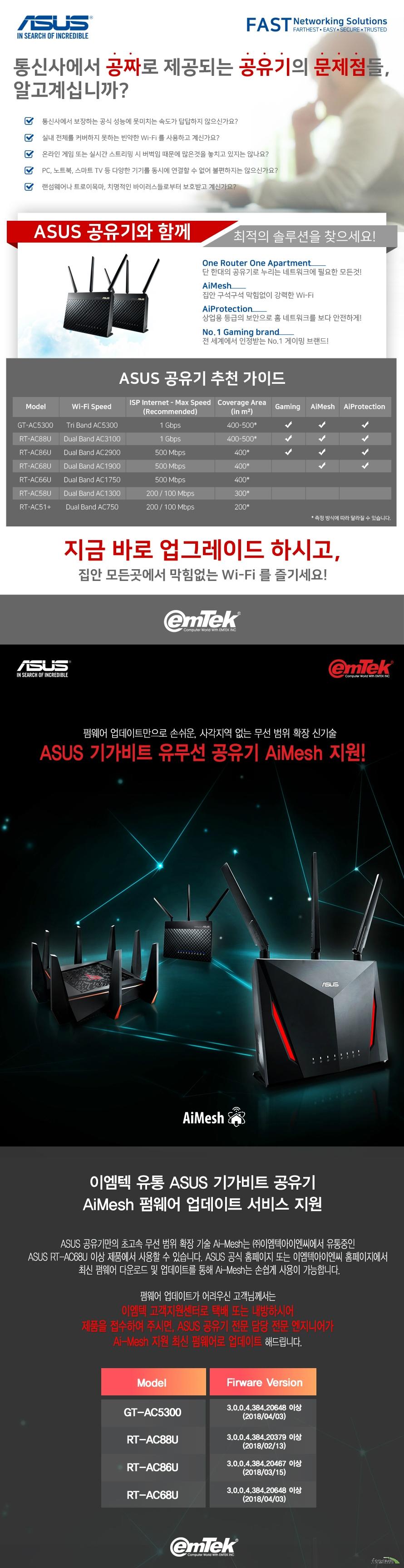 ASUS Lyra Trio AC1750 MESH WI-FI ROUTER 3PACK  제품 상세 정보  네트워크 표준 IEEE 802.11A B G N AC 지원  제품 세그먼트 AC1750 최대 성능 450+1300MBPS 커버리지 LARGE HOMES 데이터 레이트   802.11N UP TO 450MBPS 802.11AC UP TO 1300 MBPS  내부 안테나 3개 지원 송수신 MIMO 기술  32MB 플래시 및 128MB 메모리  동작 주파수 2.4 및 5 GHZ  파워 서플라이 AC 인풋 100볼트에서 240볼트까지 50에서 60헤르츠 DC 아웃풋 최대 12볼트 1.5 암페어 지원 운영체제 윈도우 10 / 8.1 / 8 / 7 지원 맥 os x 10.1 부터 10.12 지원 리눅스 지원 크기 길이 135.1밀리미터 넓이 123.2밀리미터 높이 77.9밀리미터 제품 무게 198.9그램 KC 인증 R C MSQ MAP AC1750