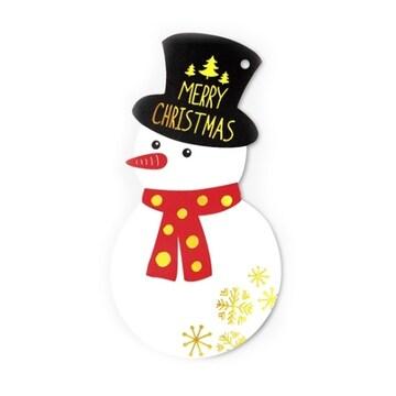 인디고 금박 메리크리스마스 눈사람 카드