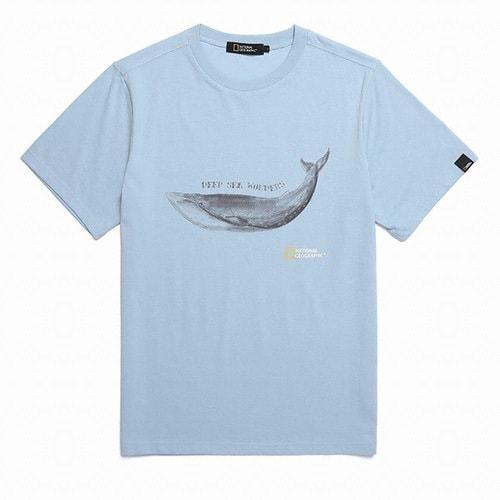 내셔널 지오그래픽  아키누 고래 프린트 반팔 티셔츠 (N182UTS960, 블루)_이미지