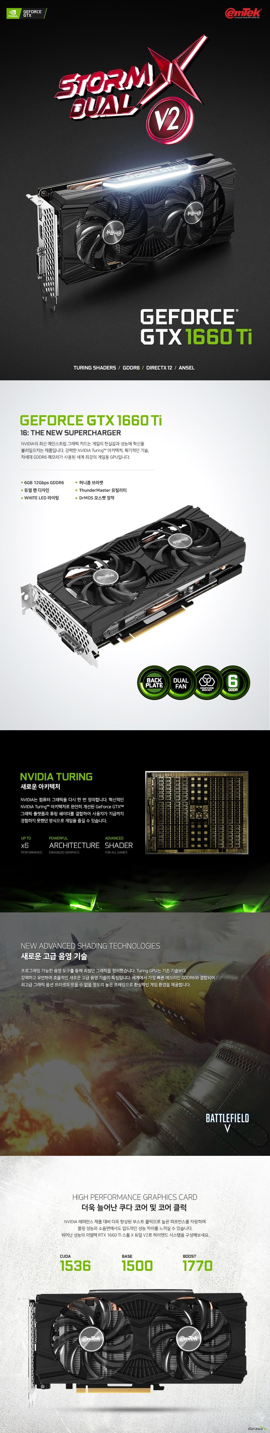 디스플레이 포트 듀얼링크 DVI D 포트 1개 HDMI 2.0B 포트 1개 DP 1.4 포트 1개  최대 해상도  7680X4320 지원 최대 3대 멀티 디스플레이 지원  소비 전력 120와트 권장 전력 450와트 이상 8핀 전원 커넥터 사용  제품 크기  길이 235밀리미터 넓이 112밀리미터 두께 2슬롯  지원 운영체제 윈도우 10 7 및 64비트 및 리눅스 64비트 지원 KC 인증번호 R R EMT PT N166TI  쿨링 시스템  90밀리미터 듀얼 쿨링 팬 알루미늄 히트싱크 6밀리미터 구리 히트 파이프 4개