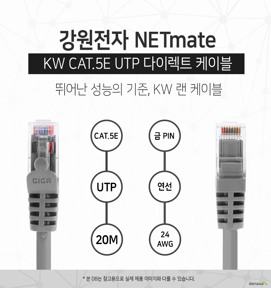 강원전자 NETMATE            KW CAT 5E UTP 다이렉트 케이블             뛰어난 성능의 기준 kw 랜 케이블                        CAT 5E            UTP            20M            금핀            연선            24 AWG                        본 디비는 참고용으로 실제 제품 이미지와 다를 수 있습니다.
