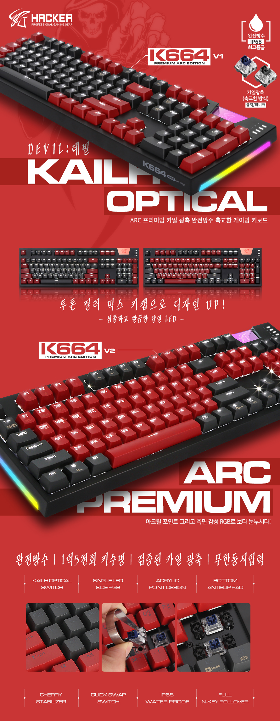 ABKO HACKER K664 ARC 프리미엄 카일 광축 완전방수 LED 데빌(V2, 리니어)