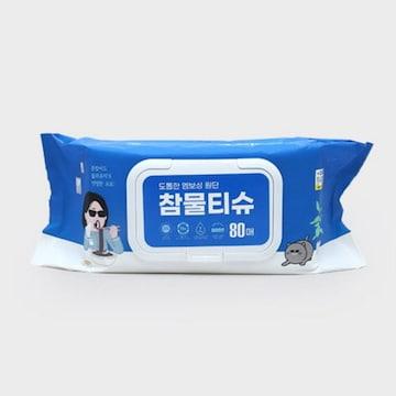 대한피앤에이치  다이소 참 와이드 물티슈 캡형 80매 (1팩, 80매)