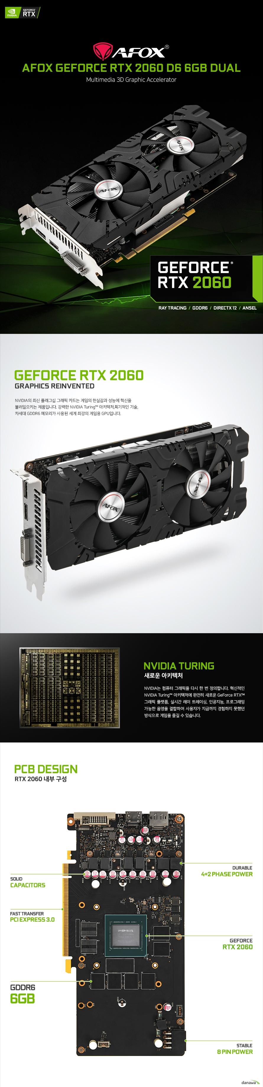 AFOX 지포스 RTX 2060 D6 6GB DUAL 백플레이트 상세 스펙 지포스 RTX 2060 / 12nm / 1365MHz , 부스트 1680MHz / 1920개 / PCIe3.0x16 / GDDR6(DDR6) / 14000MHz / 6GB / 192-bit / DVI / HDMI / DP / 최대 모니터 3개 / 최대 190W / 정격파워 500W 이상 / 전원부: 4+2페이즈 / 2개 팬 / 240mm / 백플레이트