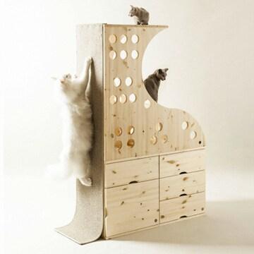 니엣칸테 고양이와 함께쓰는 캐니쳐 원목서랍장 캣타워 CA-01
