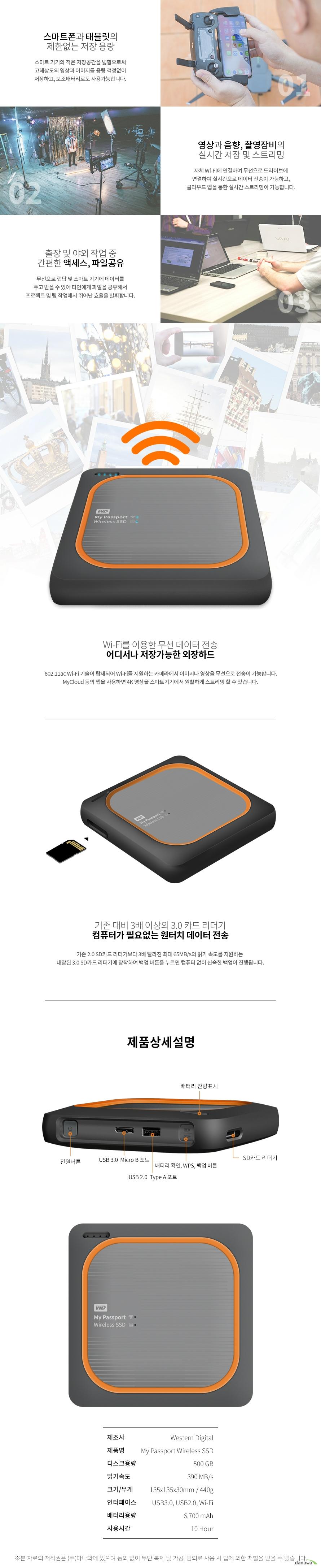 Western Digital WD My Passport Wireless SSD(500GB)