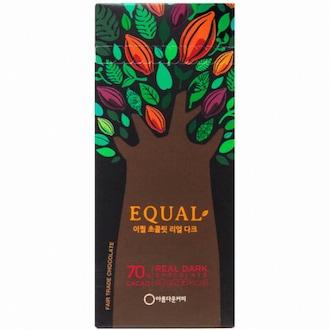 아름다운커피 이퀄 공정무역 이퀄 리얼 다크 70% 초콜릿 40g (1개)_이미지
