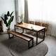 라미에스 키첸 아카시아 원목 식탁세트 1700 (의자3개+벤치1개)_이미지