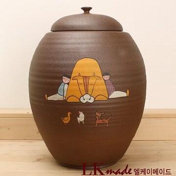 LKmade  옹기 전통 고향친구 쌀항아리 20~23kg