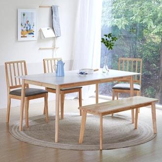 베스트리빙 스칸디 로체 세라믹 식탁세트 1600 (의자3개+벤치1개)_이미지