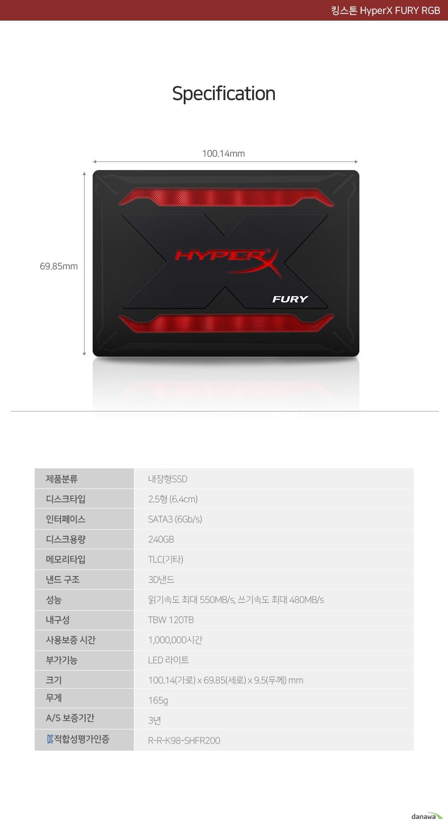 킹스톤  HyperX FURY RGB(240GB)