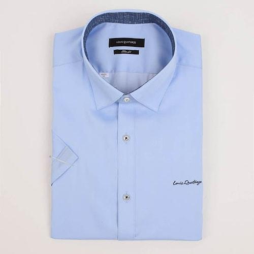 루이까또즈  반소매 기본 솔리드 슬림핏 셔츠 Q80852_이미지