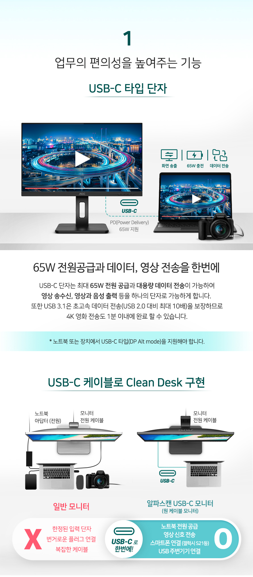 알파스캔 AOC U27P2C 4K UHD USB-C 프리싱크 높낮이 무결점