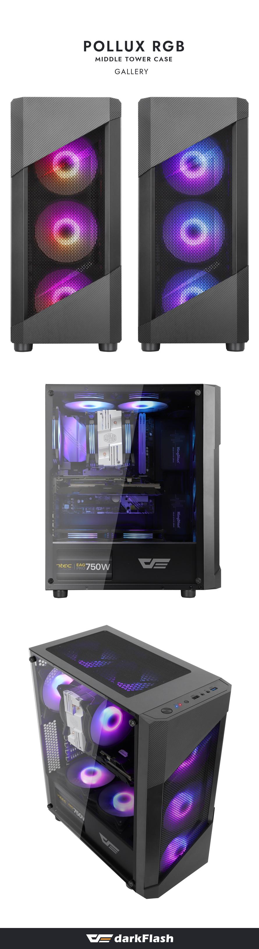 darkFlash POLLUX RGB 강화유리 (블랙)