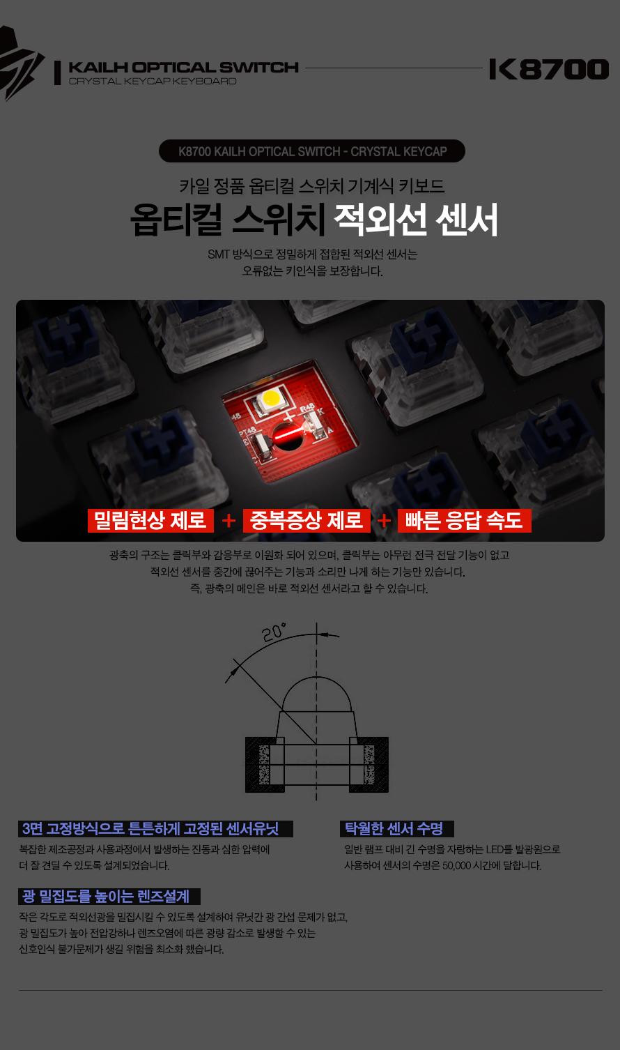 ABKO HACKER K8700 카일 광축 완전방수 크리스탈 키캡(블랙, 리니어)