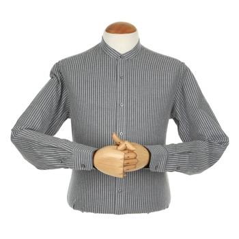 지엠아이 밴브루 멜란 스트라이프 차이나 프린트 네이비 슬림 셔츠 BGFSL2109NY_이미지