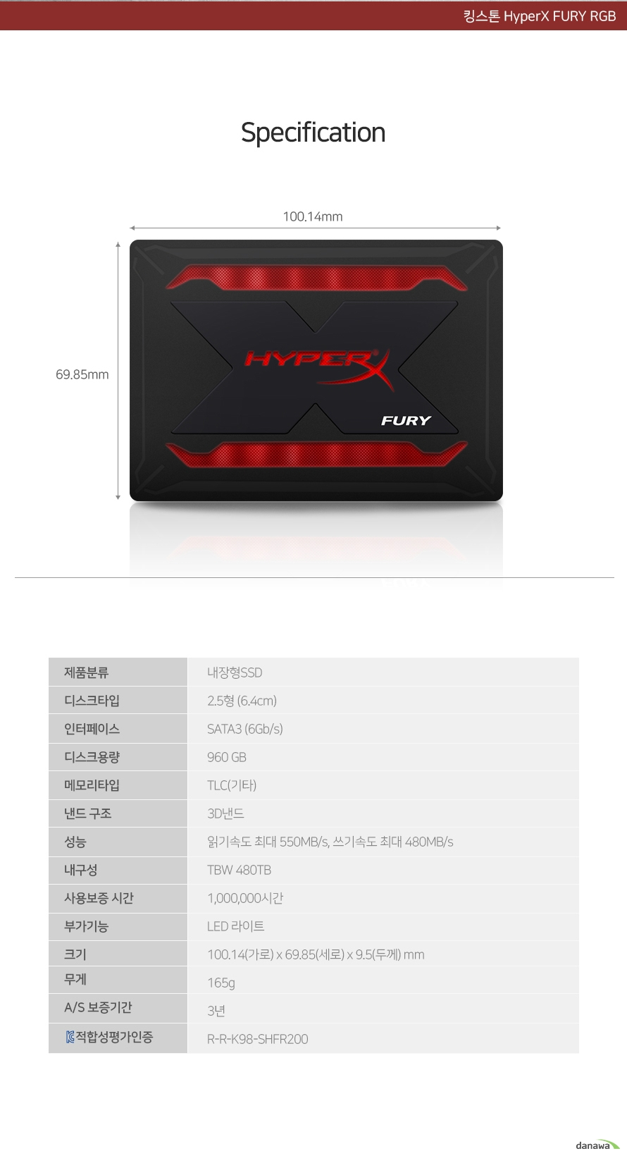킹스톤  HyperX FURY RGB(960GB)