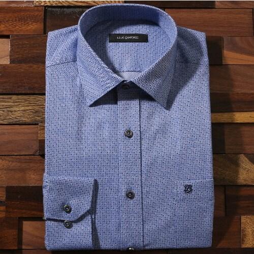 루이까또즈  블루 잔무늬 패턴 원버튼 셔츠 L53012_이미지