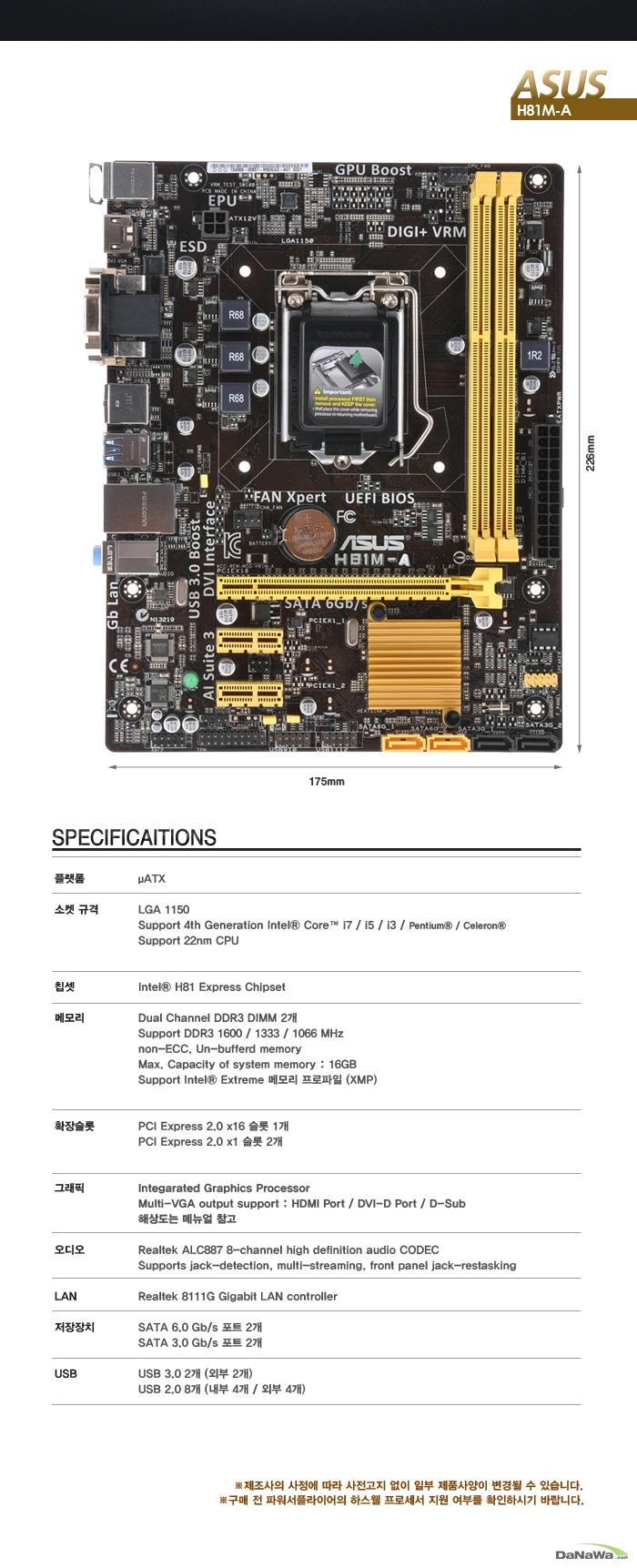 ASUS H81M-A iBORA 제품 정면 이미지 및 실측 사이즈, 상세 제품 사양 이미지
