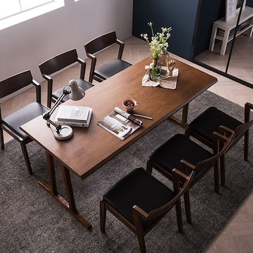채우리 바티코 고무나무원목 식탁세트 1800 (의자6개)_이미지