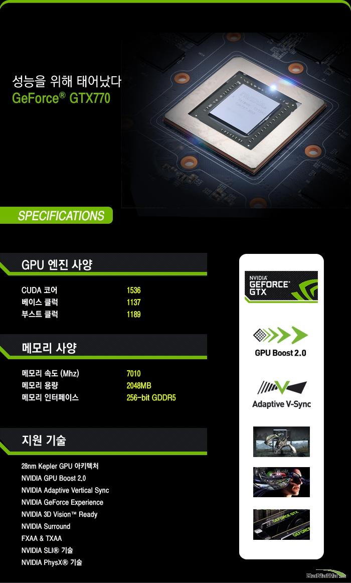 GIGABYTE 지포스 GTX 770 UDV D5 2GD WINDFORCE METAL의 세부 사양 정보 이미지