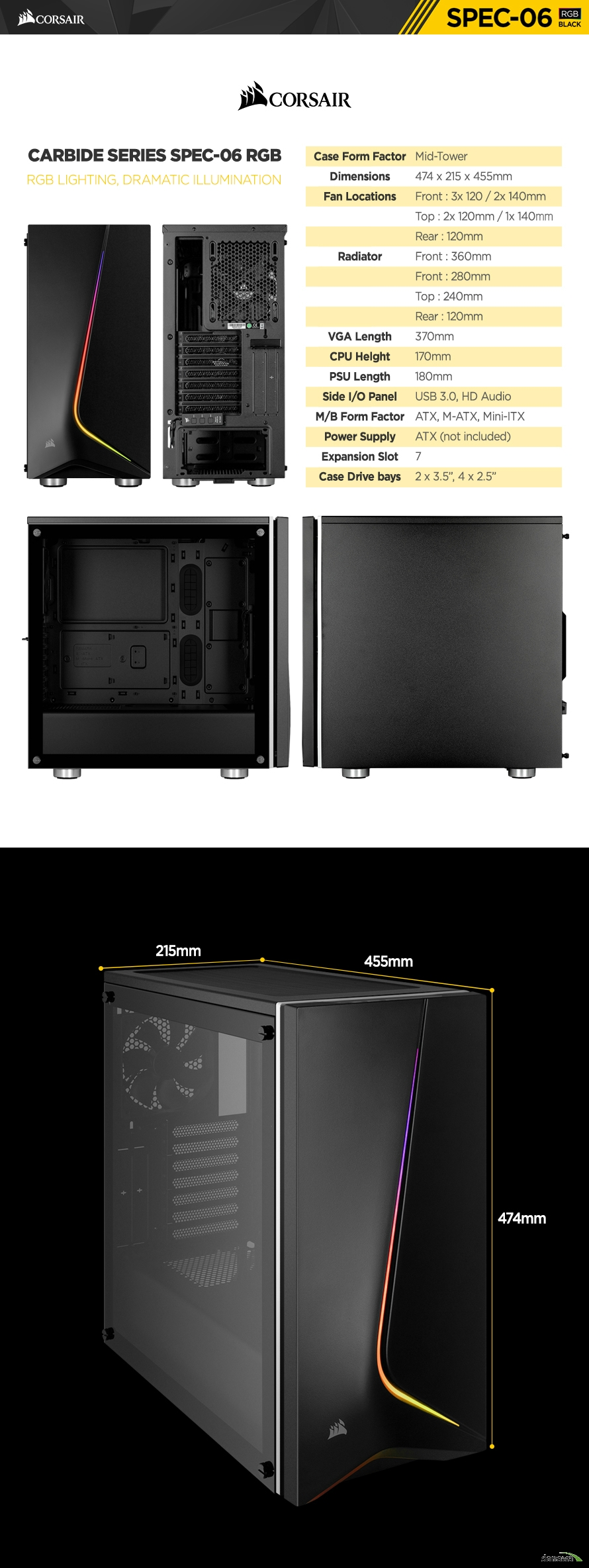 CORSAIR CARBIDE SERIES SPEC-06 RGB(BLACK)