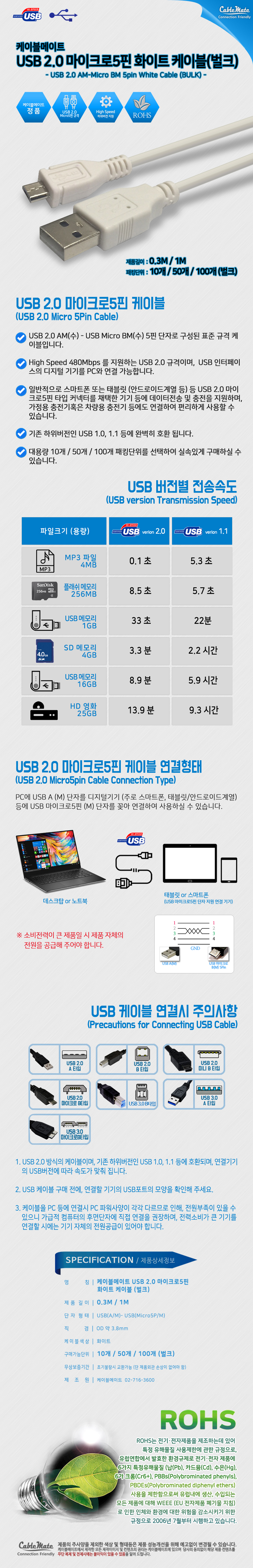 CABLEMATE  USB2.0 마이크로 5핀 벌크 케이블(0.3m, 50개)