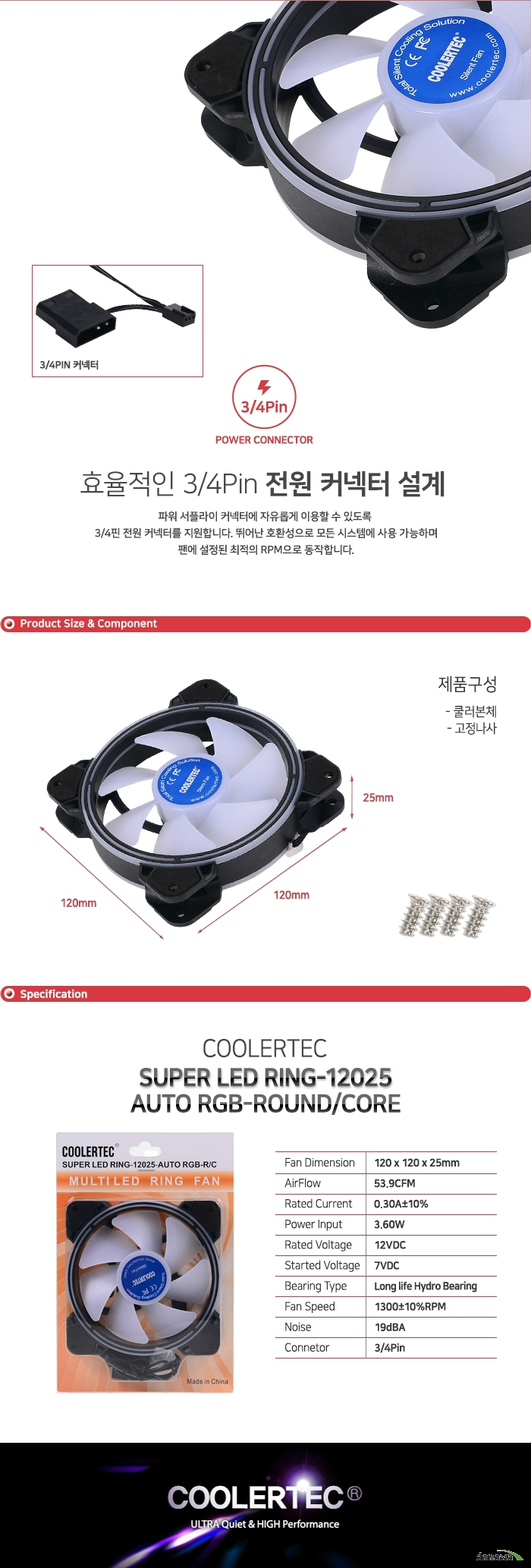 COOLERTEC SUPER LED RING-12025-AUTO RGB-R/C