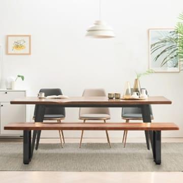 베르디안가구 베르디안 로나 우드슬랩 블랙 원목 식탁세트 (의자3개+벤치1개)