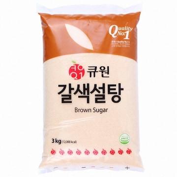 삼양사 큐원 갈색설탕 3kg(1개)