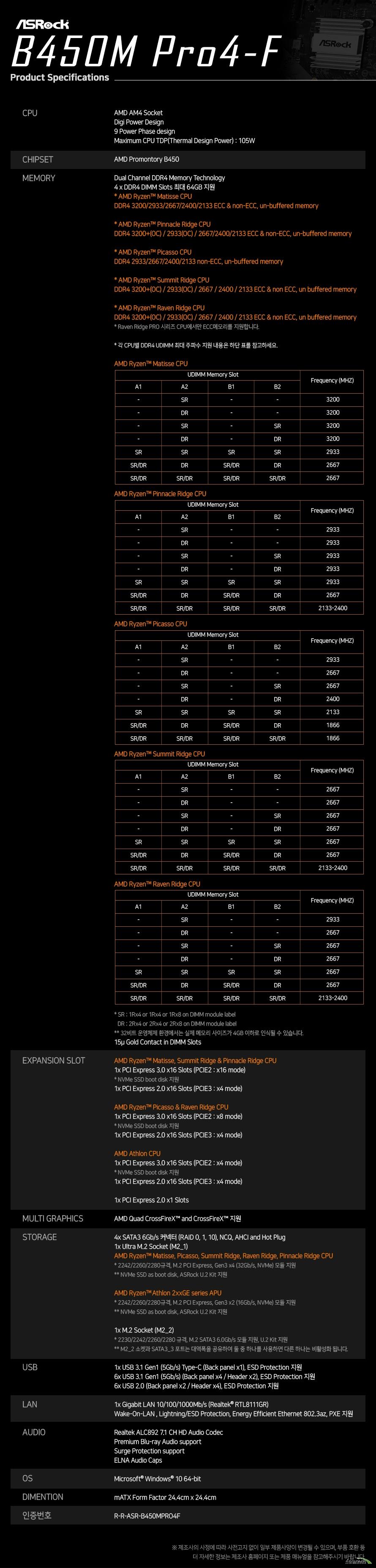 ASRock B450M PRO4-F 에즈윈