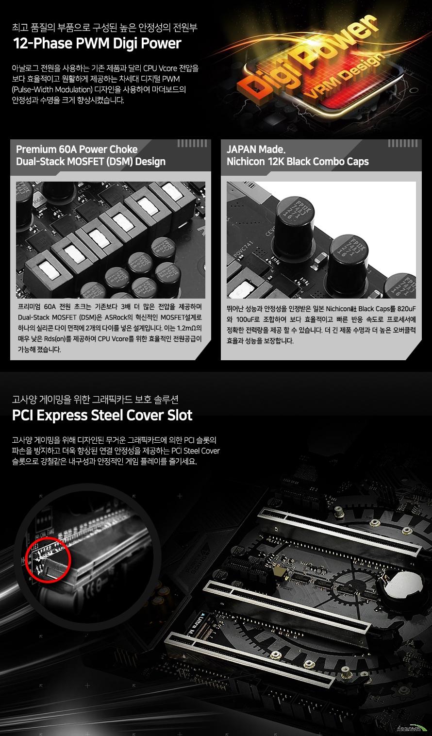 최고 품질의 부품으로 구성된 높은 안정성의 전원부            12페이즈 pwm 디지 파워                        아날로그 전원을 사용하는 기존 제품과 달리 cpu v코어 전압을            보다 효율적이고 원활하게 제공하는 차세대 디지털 pwm 디자인을 사용하여 마더보드의            안정성과 수명을 크게 향상 시켰습니다.                        프리미엄 60암페어 파워 초크            듀얼 스택 모스펫 디자인                         프리미엄 60암페어 전원 초크는 기존보다 3배 더 많은 전압을 제공하며             듀얼 스택 모스펫은 애즈락의 혁신적인 모스펫 설계로 하나의 실리콘 다이 면적에             2개의 다이를 넣은 설계입니다. 이는 1.2미터옴의 매우 낮은 RDS를 제공하며            CPU V코어를 위한 효율적인 전원공급이 가능해 졌습니다.                        재팬 메이드 니치콘 12k 블랙 콤보 캡스                        뛰어난 안정성을 인정받은 일본 니치콘사 블랙 캡스를 820 마이크로패럿과            100마이크로패럿으로 조합하여 보다 효율적이고 빠른 반응 속도로 프로세서에 정확한            전력량을 제공 할 수 있습니다. 더 긴 제품 수명과 더 높은 오버클럭 효율과 성능을            보장합니다.                        고사양 게이밍을 위한 그래픽카드 보호 솔루션            pci익스프레스 스틸 커버 슬롯                        고사양 게이밍을 위해 디자인된 무거운 그래픽카드에 의한 pci 슬롯의 파손을 방지하고            더욱 향상된 연결 안정성을 제공하는 pci 스틸 커버 슬롯으로 강철같은 내구성과            안정적인 게임 플레이를 즐기세요.