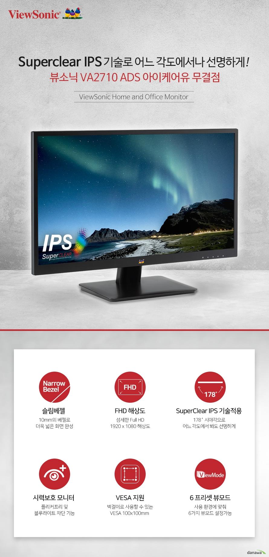 Superclear IPS 기술로 어느 각도에서나 선명하게! 뷰소닉 VA2710 ADS 아이케어유 무결점  ViewSonic Home and Office Monitor   슬림 베젤 채택 일반 모니터 보다 슬림한 베젤 채택으로 넓은 화면을 완성하였습니다. 여러개의 창을 띄어야 하는 오피스 작업자 또는 영상을 보는 모든 사용자에게 더욱 뛰어난 몰입감과 편안한 시야를 제공합니다.   FHD 고해상도 모니터 넓은 화면에 섬세하게 표현하는 1920 x 1080 FHD 고해상도를 지원하여 일반 HD 해상도 보다 선명하고 섬세한 표현의 화면을 경험 할 수 있습니다.   SuperClear IPS 기술적용 풍부하고 생생한 컬러를 일관된 밝기로 즐길 수 있습니다.  SuperClear IPS 형 패널 기술을 통해 VA2710 모니터는  화면을 위, 아래, 정면 또는  측면에서 볼 때  또렷하고 일관된 이미지 그대로 감상 할 수 있습니다.   시선을 사로잡는 생생하고선명한 화질 SuperClear IPS  기술적용 뷰소닉의 SuperClear기술은 여러분이 어떤방향에서 어떤 자세로 화면을 보든 언제나 동일한 이미지를 보여드립니다. 같은 이미지, 같은 영상도 더 선명하게 감상하세요! 상하좌우 178도의 광시야각 패널이 일반 모니터와는 달리 색상 왜곡 현상없이 완벽한 색상을 유  지합니다.    장시간 사용에도 편안하게! FlickerFree 모니터는 백라이트의 주사율을 통해 화면의 밝기를 조절하기 때문에 1초에 수백번 깜빡입니다. 이 깜빡임 현상을 제거하여 화면을 오래 보고있어도 눈의 피로, 안구의 통증, 두통, 눈 시림 등의  증상을 없애 오랜시간 편안하게 사용할 수 있는 기술입니다.     Blue Light Filter 모니터에서 나오는 파란색 계열의 파장인 블루라이트에 오래 노출되면 눈의 피로는 물론 안구건조 증세가 나타나 망막의 손상을 일으키기도 합니다. 이렇게 눈에 해로운 블루라이트를 제거하여 눈의 건강을 지키는데 도움을 드립니다.    사용 환경에 맞추는 최적의 화면 프리셋 VIEW MODE ViewSonic의 독점적인 ViewMode는 게임, 영화, 문서, 웹, 모노, Mac 모드를 포함한 다양한 사용환경에 맞는 사전 설정을 제공해드립니다.    모니터의 수명을 늘려주는 낮은 전력 소모 저전력 에너지 절약 기술인 ECO MODE가 지원됩니다. 활성화를 할 경우 모니터 최대 밝기의  약 50% 밝기로 설정이 됩니다. 화면을 보는데 큰 불편함 없이 전력 소모가  급격히 낮아지고 LED 백라이트의 수명이 더욱 늘어납니다.        벽걸이로 사용이 가능한 VESA홀 지원 100 x 100 mm 의 VESA 홀 지원으로 벽걸이 형태로도 설치하여 사용 할 수 있습니다.   유연한 연결성 다양한 장치에 연결 HDMI 및 VGA 입력을 통해 모니터를 다양한 장치에 자유롭게 연결할 수 있습니다.