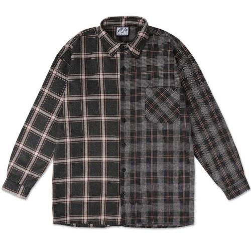 엠블러 오버핏 체크 셔츠 ASH202
