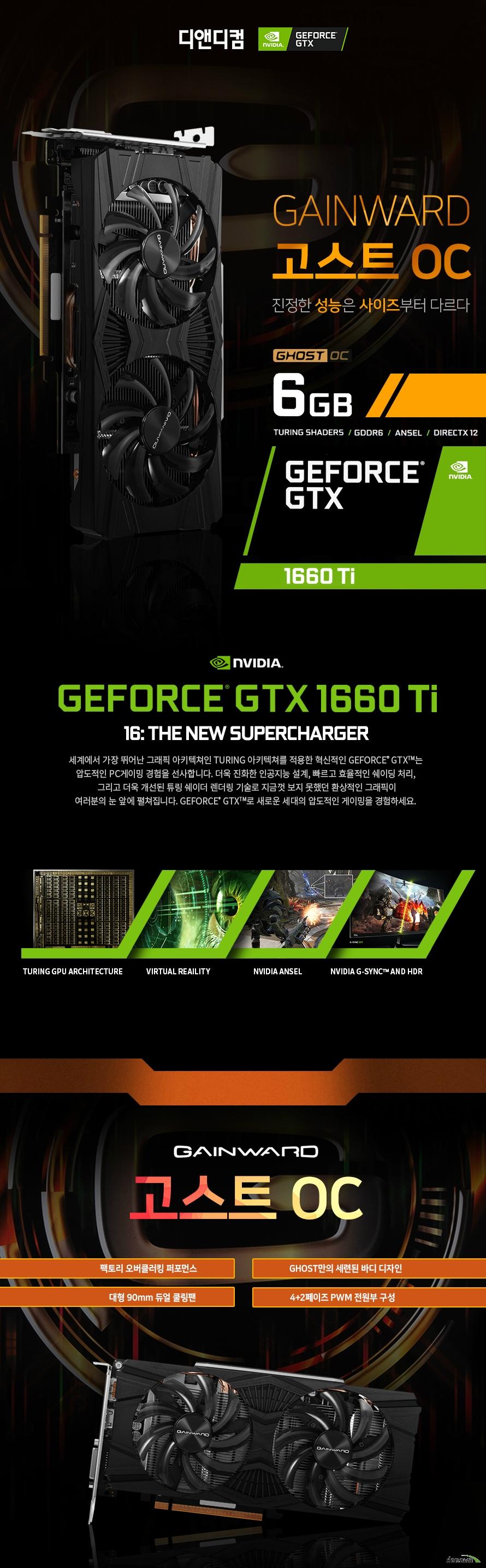 GAINWARD 지포스 gTX 1660 TI 고스트 OC D5 6GB 디앤디컴 제품 크기      길이 235밀리미터     높이 115밀리미터     두께 38밀리미터          제품 상세정보          GPU 엔진 사양          프로세서 코어 1536개     베이스 클럭 1500메가헤르츠     부스트 클럭 1815메가헤르츠          메모리 사양          메모리 속도 12000메가헤르츠     메모리 용량 6기가바이트     메모리 인터페이스 GDDR6 192비트          디스플레이 출력 정보          모니터 동시 지원 최대 3대     최대 해상도 7680 4320     출력 포트 DP1.4 포트 1개 HDMI 2.0포트 1개 듀얼링크 DVI D 1개     제품 전력 사양          그래픽카드 소모 전력 120와트     최소 시스템 요구 전력 450와트     전원 커넥터 8핀           제품 추가 사양          제품 인증번호 R R DND GW g1660ti GT     품질 보증기간 3년 무상 보증       디앤디컴 3년무상 서비스          디앤디컴에서 유통하는 게인워드 지포스 gtx 제품은 3년 무상 품질 보증 서비스를 제공합니다.     디앤디컴 서비스 센터 02 702 1358