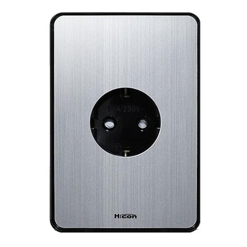 현대일렉트릭 하이콘80 매입 1구 콘센트 실버_이미지