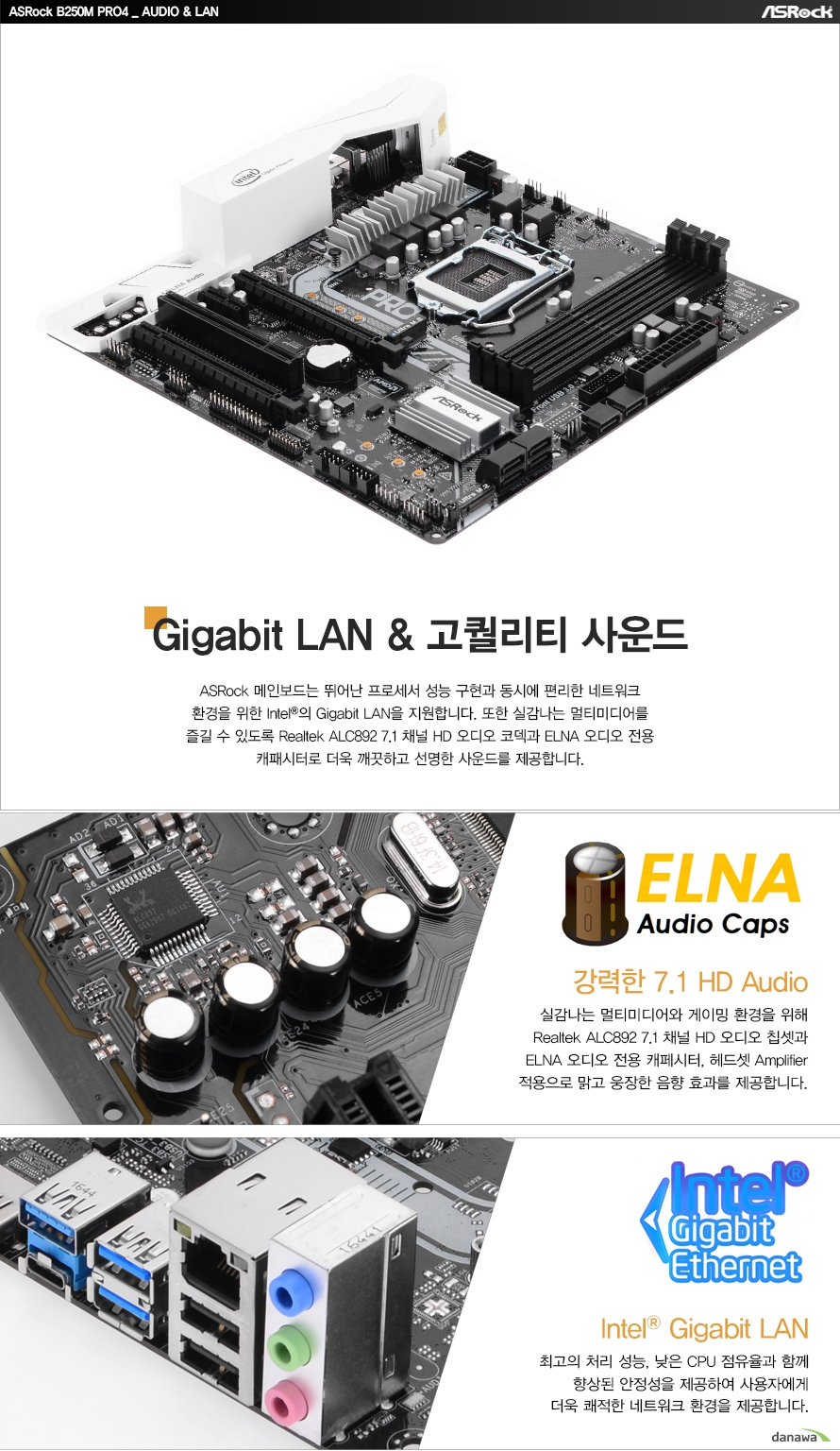 ASRock B250M PRO4 AUDIO, LANGigabit LAN, 고퀄리티 사운드ASRock 메인보드는 뛰어난 프로세서 성능 구현과 동시에 편리한 네트워크환경을 위한 Intel의 Gigabit LAN을 지원합니다. 또한 실감나는 멀티미디어를즐길 수 있도록 Realtek ALC892 7.1 채널 HD 오디오 코덱과 ELNA 오디오 전용캐패시터로 더욱 깨끗하고 선명한 사운드를 제공합니다.ELNA Audio Caps 강력한 7.1 HD Audio실감나는 멀티미디어와 게이밍 환경을 위해 Realtek ALC892 7.1 채널 HD 오디오 칩셋과 ELNA 오디오 전용 캐페시터, 헤드셋 Amplitier 적용으로 맑고 웅장한 음향 효과를 제공합니다.Intel Gigabit LAN최고의 처리 성능, 낮은 CPU 점유율과 함께 향상된 안정성을 제공하여 사용자에게 더욱 쾌적한 네트워크 환경을 제공합니다.