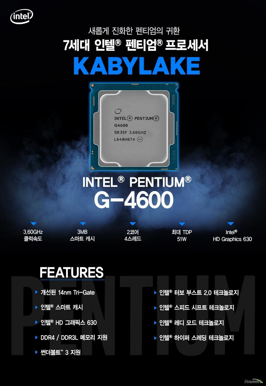 새롭게 진화한 펜티엄의 귀환         7세대 인텔 펜티엄 프로세서         KABYLAKE         G4600         최대 3.60ghz 클럭속도         3mb 스마트 캐시         2코어 4스레드         최대 tdp 51w         intel hd graphics 630                  FEATURES         개선된 14NM TRI GATE         인텔 스마트 캐시         인텔 HD 그래픽스 630         DDR4 DDR3L 메모리 지원         썬더볼트 3 지원         인텔 하이퍼 스레딩 테크놀로지         인텔 터보부스트 2.0 테크놀로지         인텔 스피드 시프트 테크놀로지         인텔 레디 모드 테크 놀로지