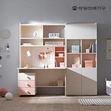 상일리베가구  킨더 오픈형 책상+서랍장+도어 책장세트 800 (120x70cm)