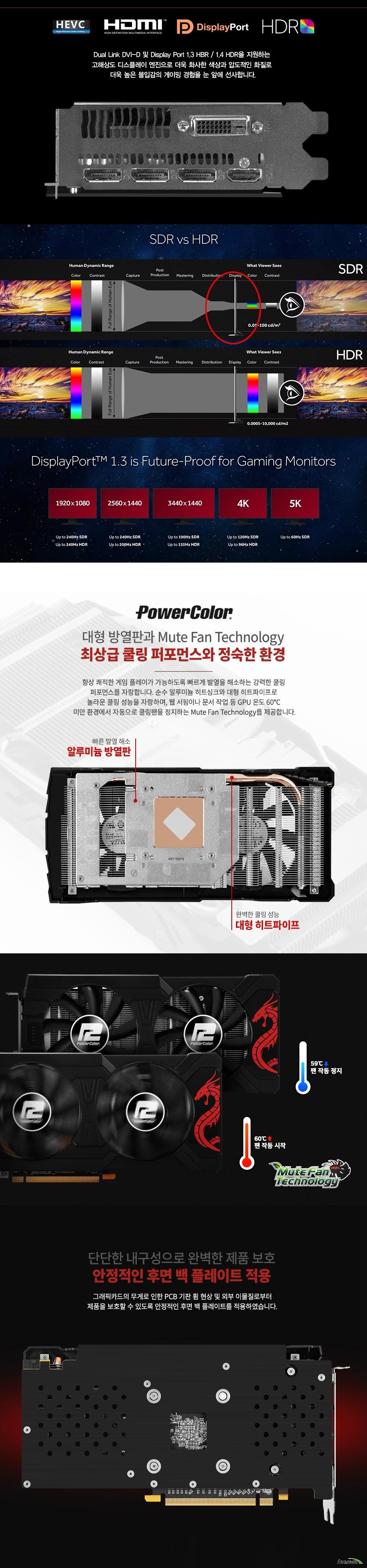 PowerColor  라데온 RX 570 OC D5 8GB 레드드래곤 백플레이트