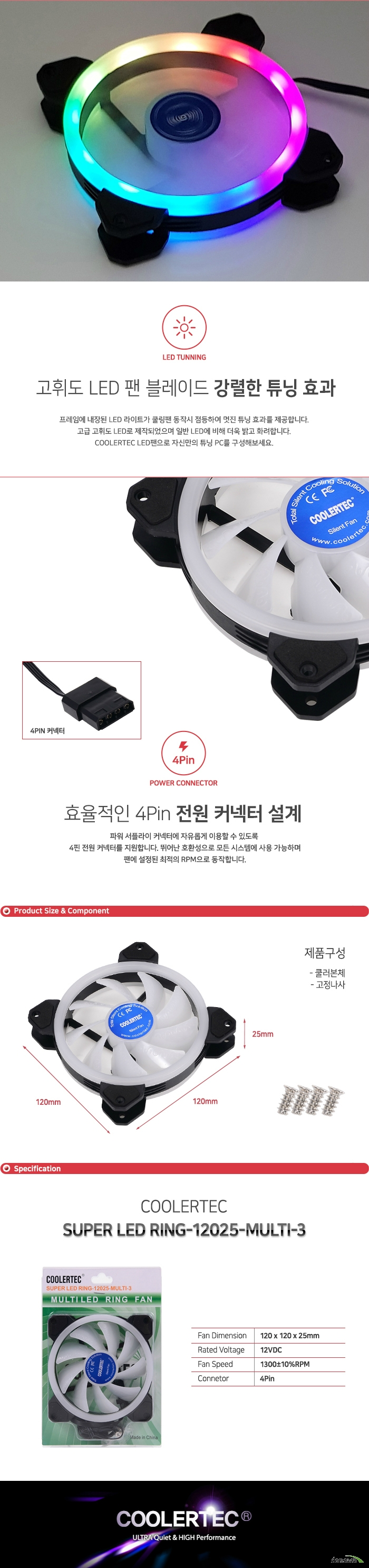 COOLERTEC SUPER LED RING-12025-MULTI-3