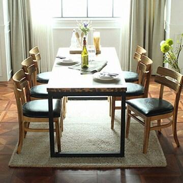 라미에스  키첸 아카시아 원목 식탁세트 1700 (의자6개)
