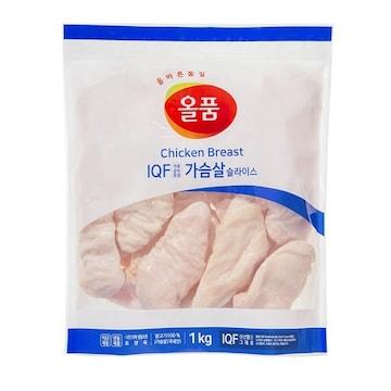 올품  IQF 냉동 닭가슴살 슬라이스 1kg (1개)